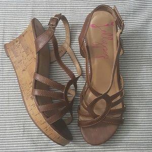 Brown Cork Wedge Heel Strappy Sandal